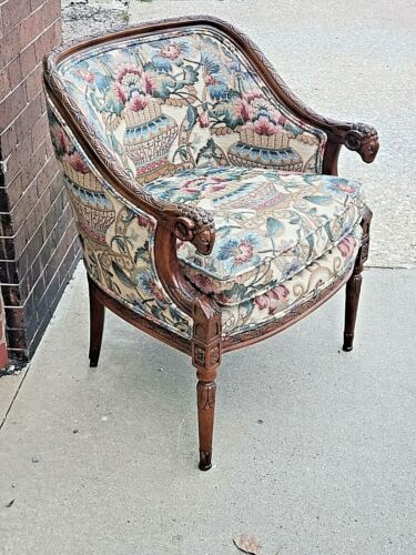 Rams Head ornate wood carved arm chair by Hictory Furniture Co.