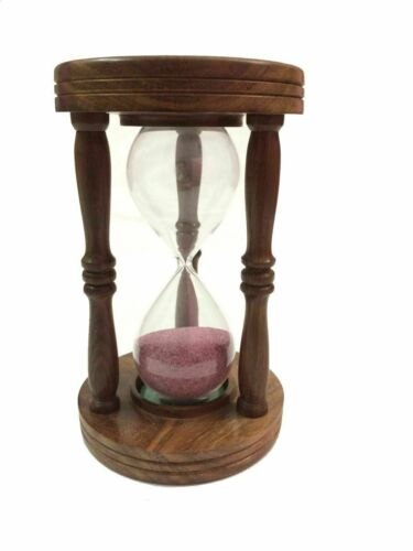 Wooden Hourglass Vintage Collectible Nautical Decor Sand Timer set of 5 unit