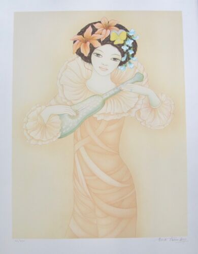 MARA TRANLONG 1975 Hand Signed Limited Edition Lithograph LUTE PLAYER