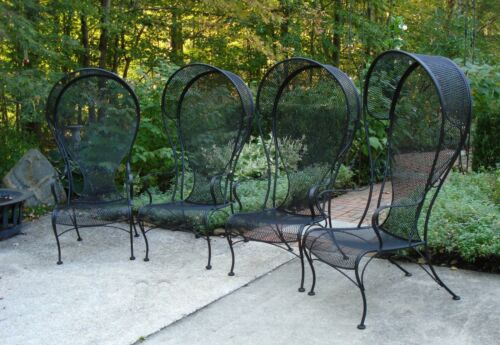 SET 4 Vintage Russell Woodard High Back Canopy Wrought Iron Chairs Mid Century