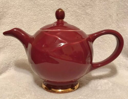 Hall China Teapot MODERNE Maroon Gold 6 cups