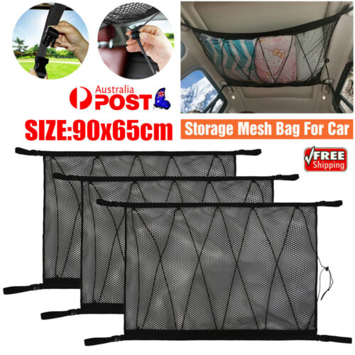 Car Roof Ceiling Cargo Net Mesh Storage Bag Pouch Pockets For SUV Van 90x65cm