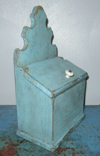Wall/Candle/Salt/Spice Box-Blue Paint-Primitive Painted-Vintage/Drawer-Cabinet