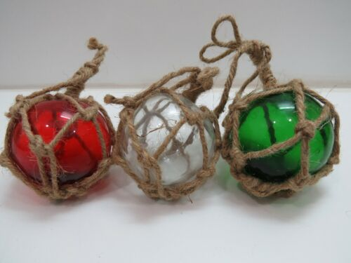 RED WHITE GREEN 3 INCH COLORED CURIO GLASS FLOATS BALLS BUOYS BOUY FISHING NET