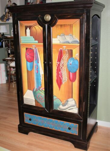 Baseball Sports Themed Painted 2-Door with Side Shelves Armoire Display Cabinet