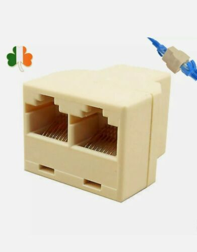 2in1 RJ45 Ethernet LAN Network Y-Splitter 2 Way Adapter 3Ports Coupler Connector