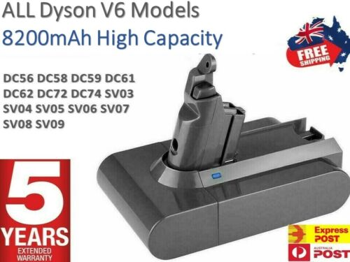 For Dyson V6 8200mAh Battery DC58 DC59 DC61 DC62 Animal DC72 SV03 SV09 SV06 <br/> Brand NEW *2021* Stock - Dispatched TODAY From SYDNEY