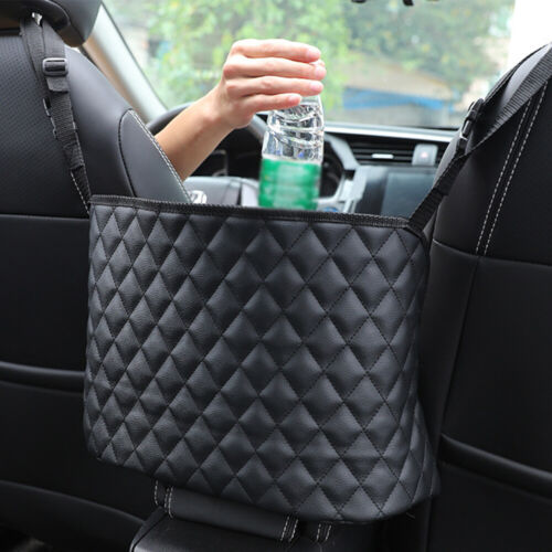Car Net Pocket Handbag Holder PU Leather Between Car Seat Storage AU ZV