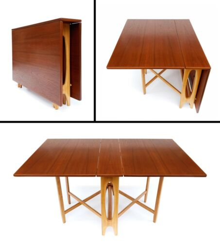 Bendt Winge Teak & Beech Drop-Leaf Gate-Leg Dining Table Kleppes Mobefabrikk