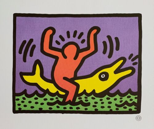 """KEITH HARING """"Dolphin Rider"""" Lithograph Art Printed in France1992"""