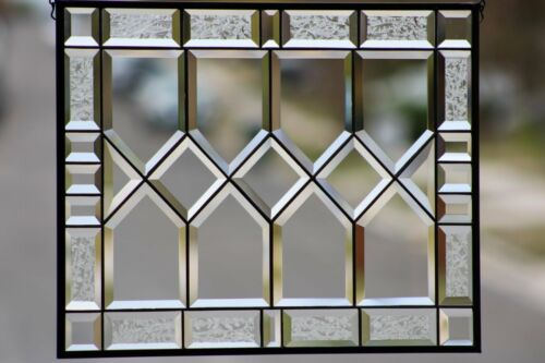 """Traditional  Clear and Beveled Stained Glass Window Panel ,Hanging  21 1/2"""" x 17"""