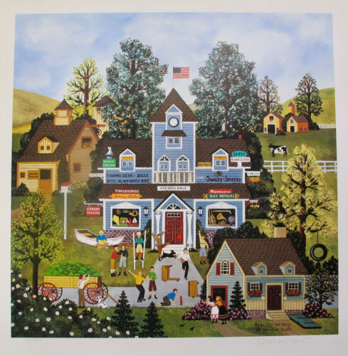 Jane Wooster Scott BOYS WILL BE BOYS Hand Signed Limited Edition Lithograph Art