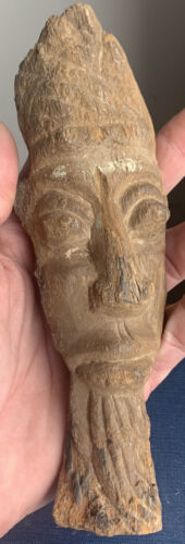 Very Old Rare Ancient/antique Petrified Wood Carved Indonesian Warrior Mans Face