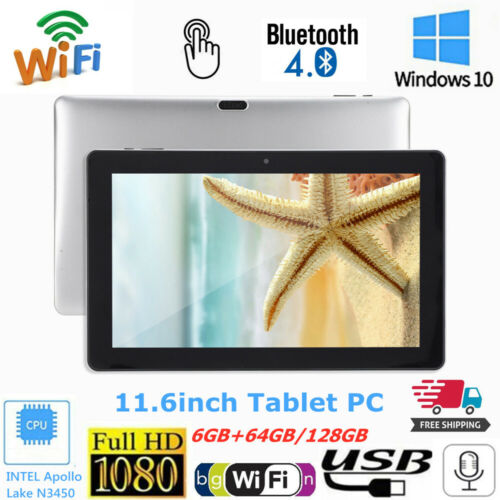 """11.6"""" 1080P Touch Tablet WiFi 6GB 128GB Quad Core Bluetooth Camera for Windows10"""