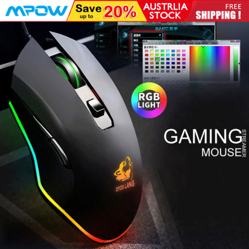 LED Wired Game Gaming Mouse USB Ergonomic Optical For PC Laptop Computer 3200DPI