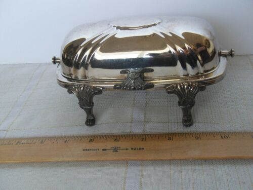 Bristol Silver Plate by Poole Butter Dish Roll Top Hinged Footed Glass Insert