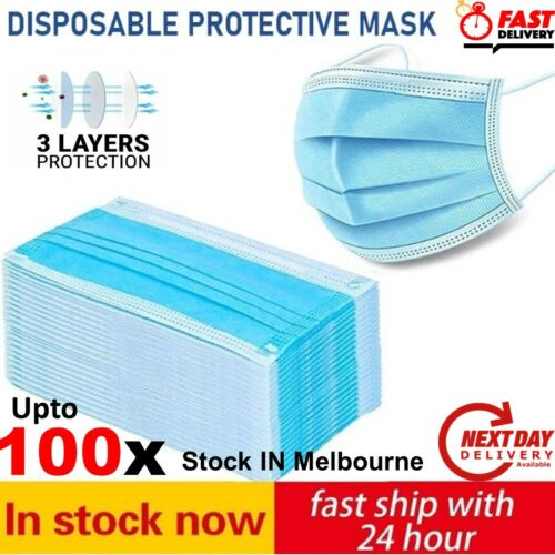 UPTO 100pcs Disposable Face Mask Surgical Grade CE Anti Bacterial 3 Layer Filter