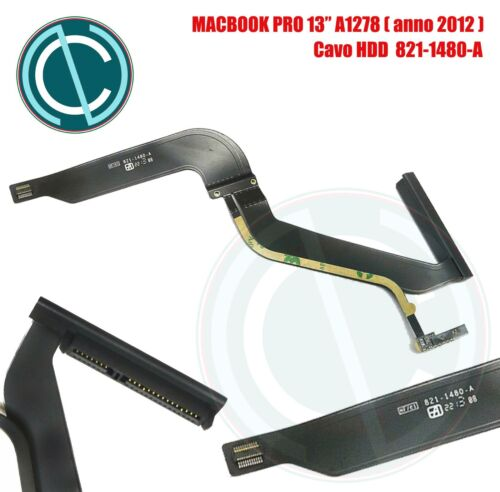 """APPLE MACBOOK PRO A1278 13"""" 2012 CAVO FLAT CABLE DISCO HDD HARD DISK 821-1480-A"""