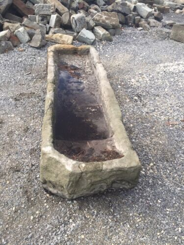 """Antique Carved Stone Water Trough 8'9"""" Long"""