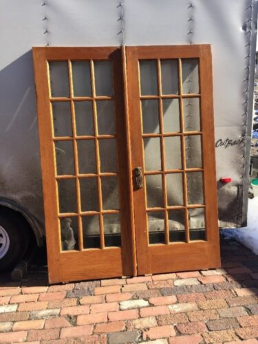 Ar 212 Match Pair Antique Oak French Door