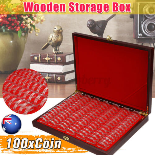 AU 100Pcs Coin Capsules Holders Red-Wooden Storage Box Display Container Case