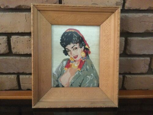 Vintage needlepoint / tapestry mid century gypsy woman, ornate wooden frame