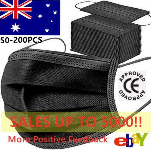 10-200 Disposable Face Masks Black 3 Layer Ply Mouth Masks Anti Bacterial Filter