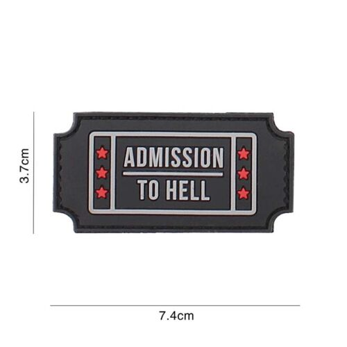Patch 3D PVC Admission to Hell black  hook and loop airsoft, bike Parches - 4725