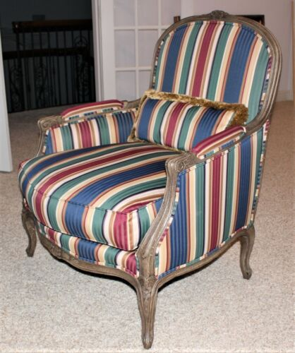 Henredon Carved Bergere Upholstered Oversized Living Room Lounge Chair