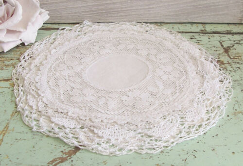 Five Shabby Vintage Lace  Doilies Craft Slow Stitching
