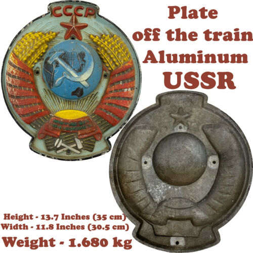 """RARE Vintage Plate off the train Aluminum - """"USSR"""" of the USSR Weight - 1.680 kgOriginal Period Items - 13982"""