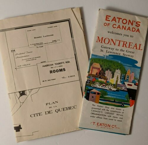 Lot of 2 Vintage Canada Canadian Quebec Montreal Vacation Maps Eaton's Store