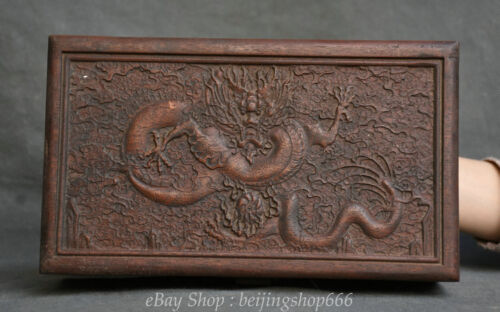 """10"""" Old Chinese Wood Hand-Carving Zodiac Dragon play Bead storage Jewelry box"""