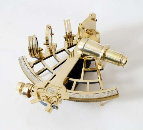 "Nautical Brass 9"" Navigation Sextant Astrolabe Sextant Functional Brass Sextant"