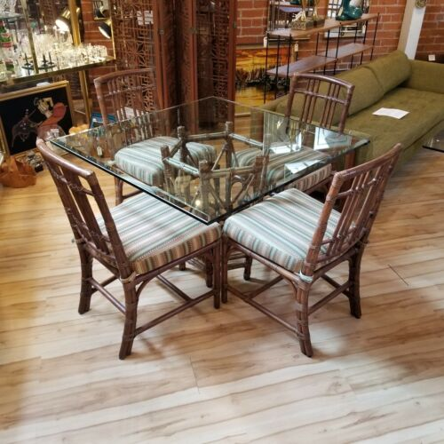 McGuire Bamboo Dining Table 4 Chairs Glass San Francisco Rawhide Square Seats 4