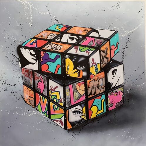 RUBIKS CUBE Pop Art Giclee on Canvas Salvador Dali Keith Haring Pink Panther