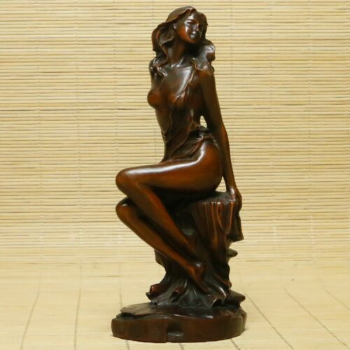 Old Chinese Exquisite Natural Boxwood Handmade Beautiful Seat girl Statue