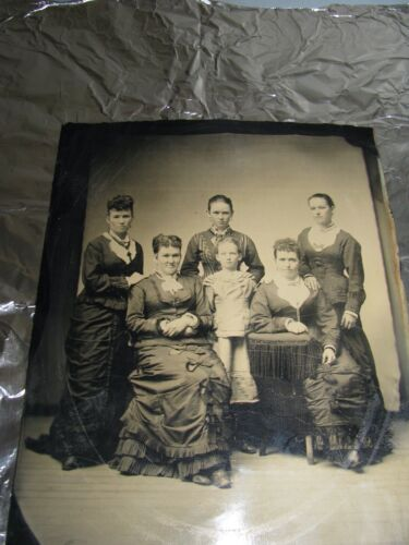 WHOLE PLATE TINTYPE PHOTO 5 WOMEN IN VICTORIAN BUSTLE GOWNS +LITTLE GIRL ANTIQUE