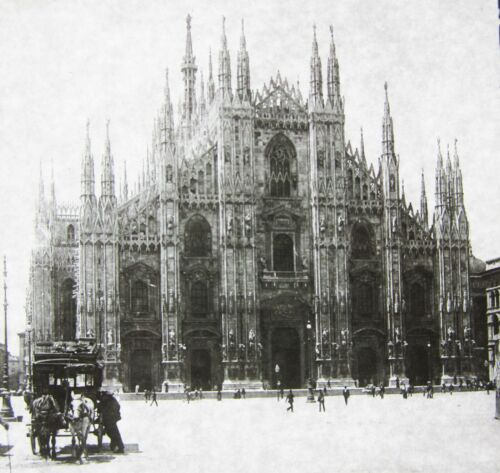 Magic Lantern Glass Slide Milan Cathedral Gothic Architecture Horse Buggy 1895