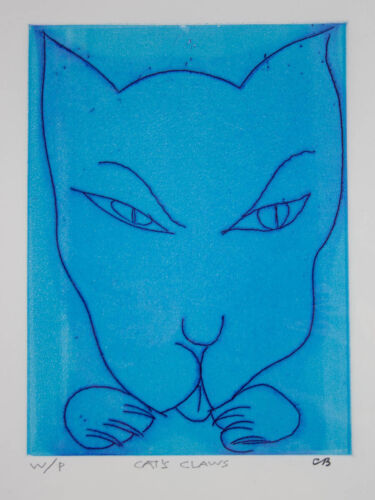Charles BLACKMAN Cats Claws -Original Signed Blue Etching, Pet Art, Modern + LOP