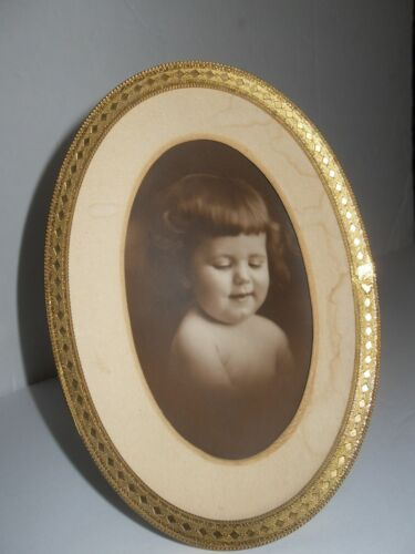 Vtg Metal Tin Oval Picture Frame w/Stand O&K Gold tone Sepia Photo Young Girl