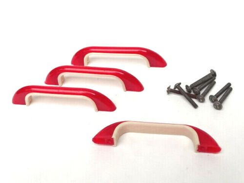 x4 Antique Bakelite Drawer Pull Handle NOS Art Deco Mid Mod Plastic - RED