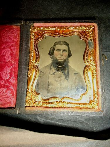 Confederate Rebel Civil War Soldier in Battle Shirt, Ambrotype 9th.P. Full Case.