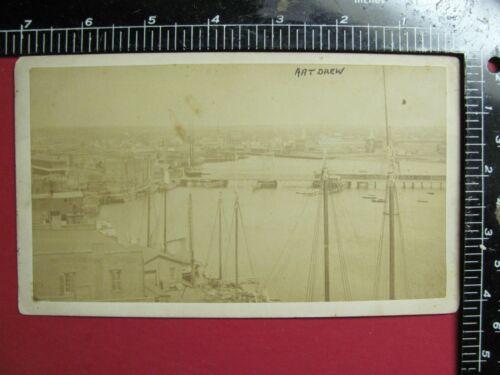 NEW ENGLAND HARBOR SAILING SHIPS WATER FRONT BUILDINGS 1880's BEV SEPIA PHOTO
