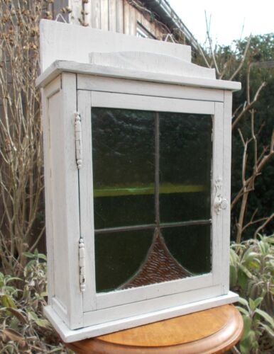 Beautiful Antique/Vintage Handmade Wall Cabinet or Medicine Chest, Stained Glass