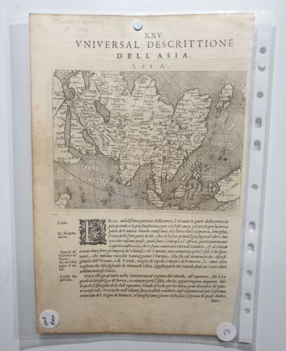 1598 MAP OF ASIA PTOLEMY MAGINI 1598