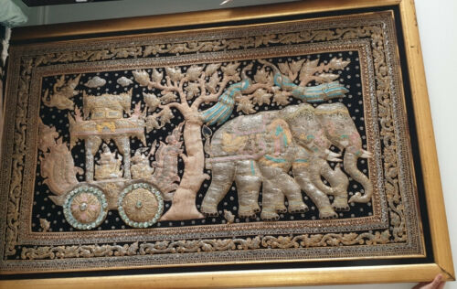 Vintage Large Thai/Burmese Kalaga Tapestry Embroidered with Beads. Wooden Frame
