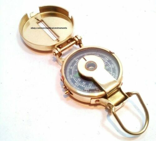 BRASS ENGINEERING MILITARY COMPASS OUTDOOR CAMPING HIKING COMPASS