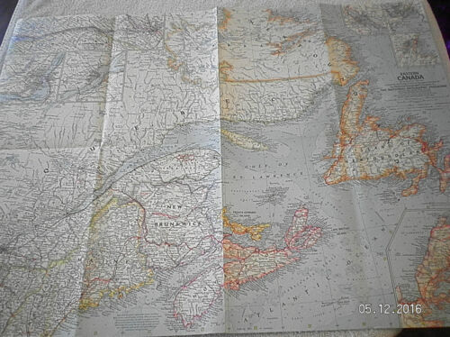 1967 VINTAGE MAP OF EASTERN CANADA NATIONAL GEOGRAPHIC #1