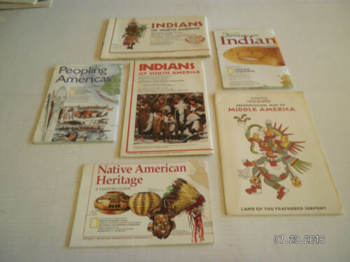 """6  MAPS FROM  NATIONAL GEOGRAPHIC SOCIETY.""""PEOPLE OF THE AMERICA"""""""